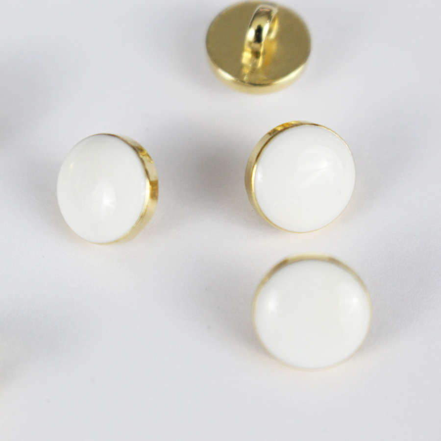 Bouton Elegant - blanc et doré 10mm