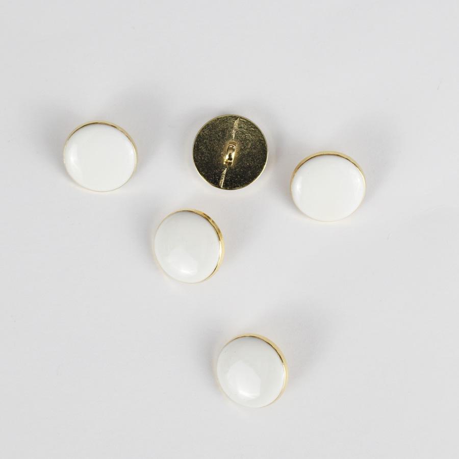 Bouton Elegant - blanc et doré 18mm