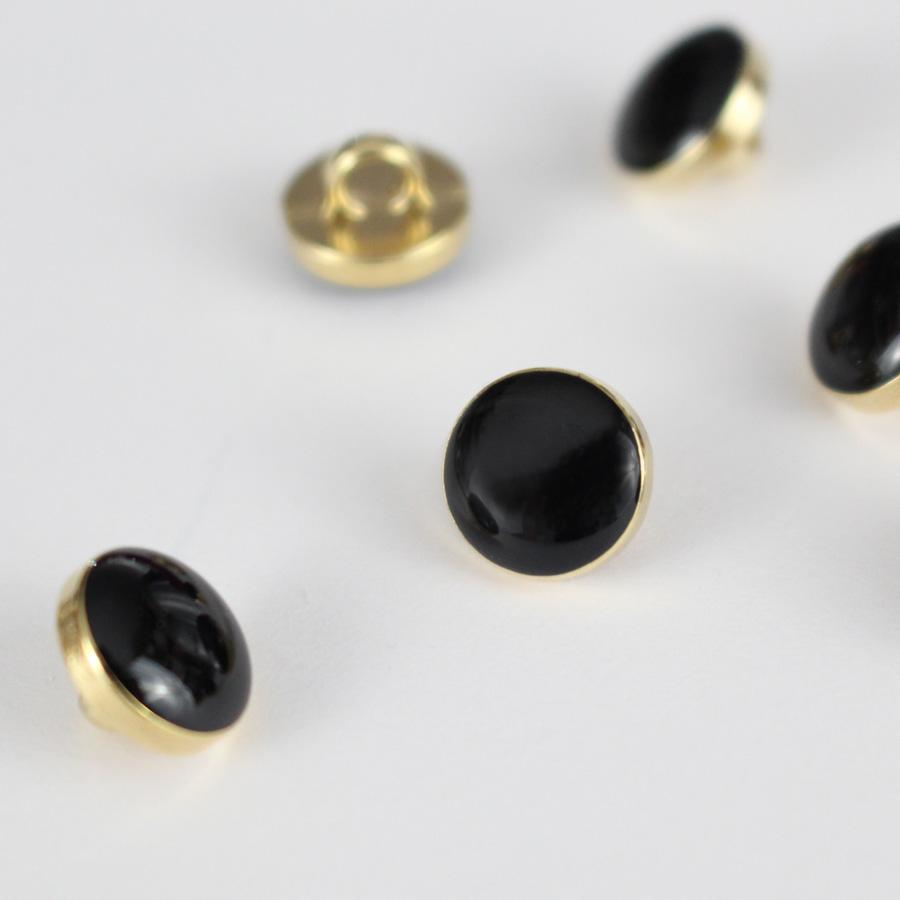 Bouton Elegant - noir et doré 10mm