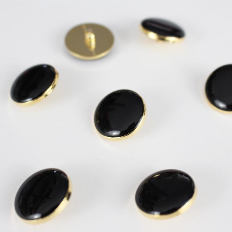 Bouton Elegant - noir et doré 18mm