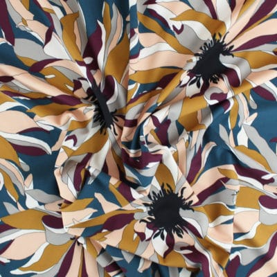 Tissu Crêpe à Fleurs