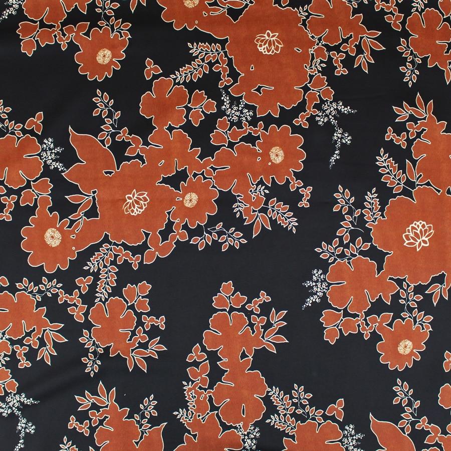 Tissu Satin Fleurs de cuivre