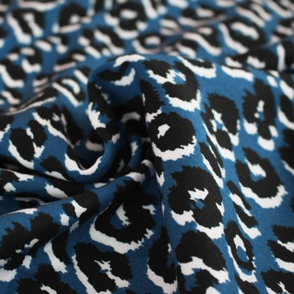 Viscose twill Léopard bleu