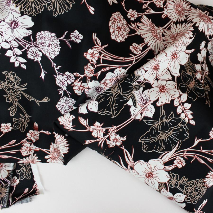 Satin de coton Fleurs du soir