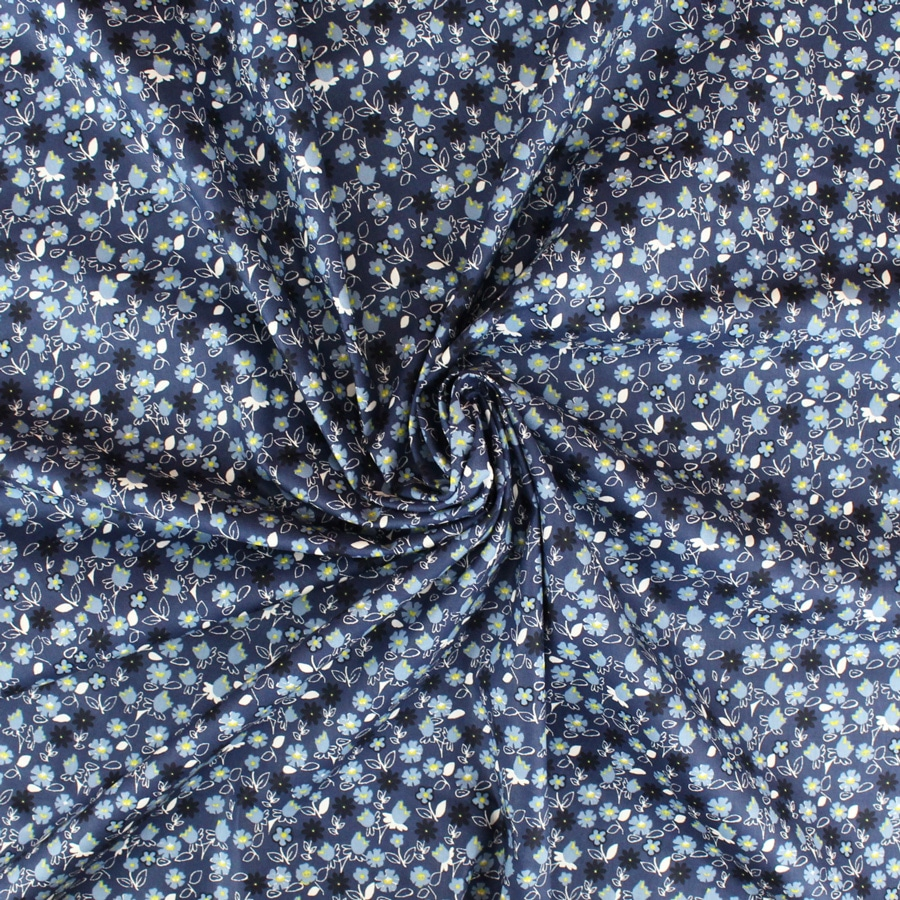 Tissu Popeline Blue Vegetal