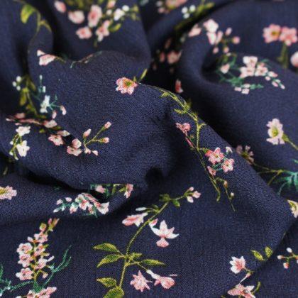 Tissu Crêpon Bouquet - bleu marine