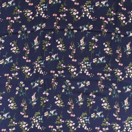 Tissu Crêpon Bouquet - bleu marineTissu Crêpon Bouquet - bleu marine