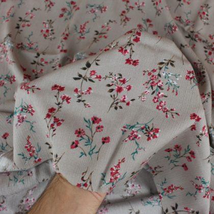 Tissu Crêpon Bouquet - gris clair