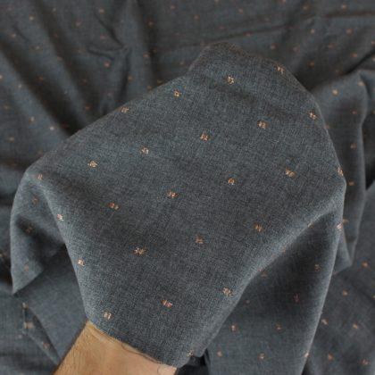 Viscose plumetis cuivré - gris