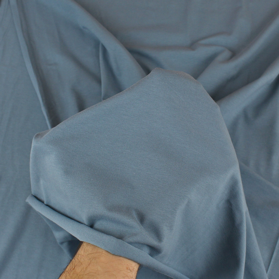 Jersey de coton bio - bleu jean