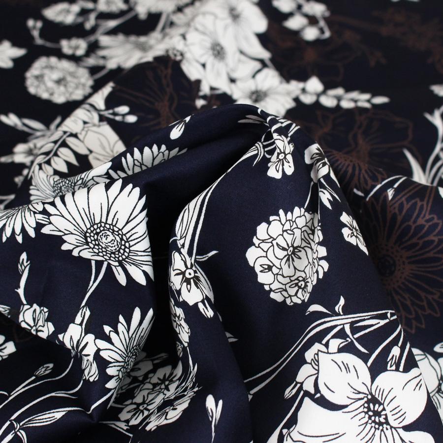Satin de coton Fleurs du soir - bleu