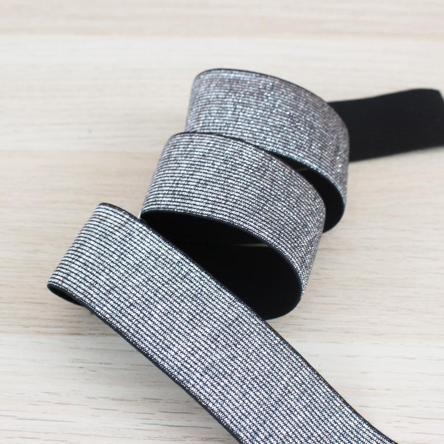 Elastique maille lurex 40 mm - argent