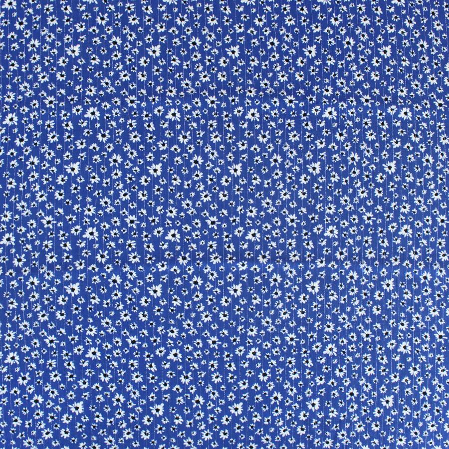 Crêpon de viscose lurex Pâquerettes - bleu