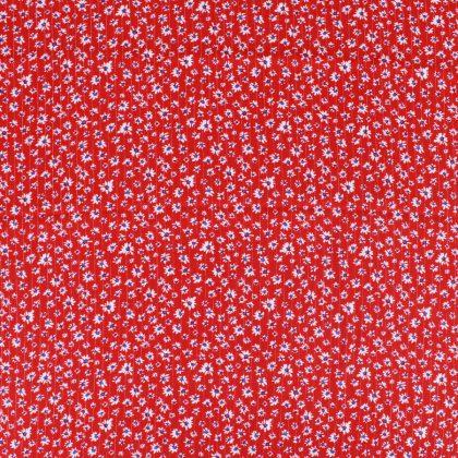 Crêpon de viscose lurex Pâquerettes - rouge