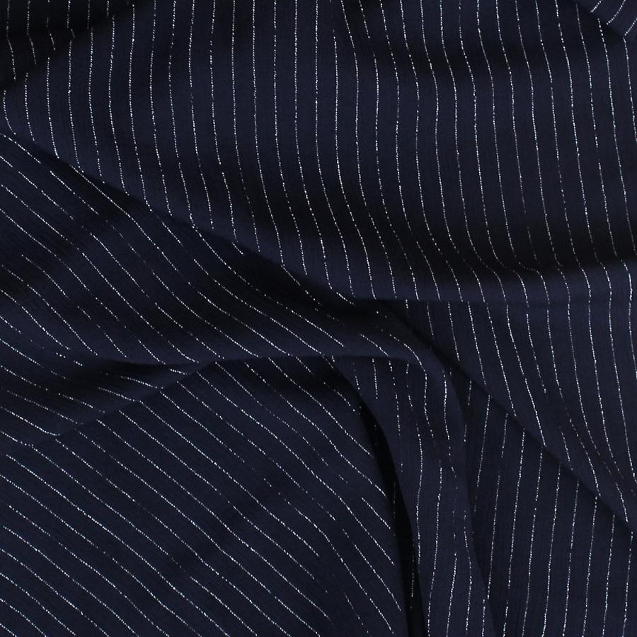 Crêpon de viscose lurex - bleu marine