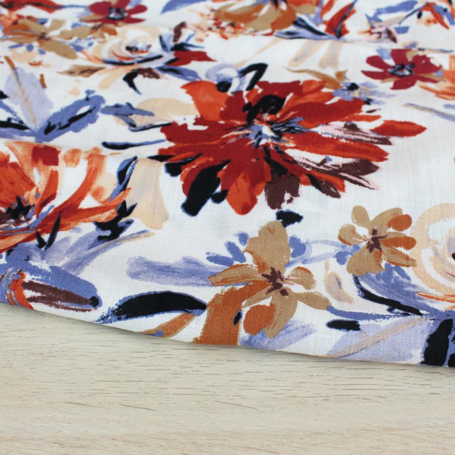 Viscose effet lin Peinture fleurie