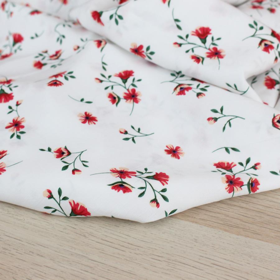 Viscose Nuée de fleurs - blanc