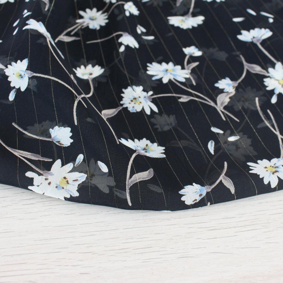 Voile lurex à fleurs - noir