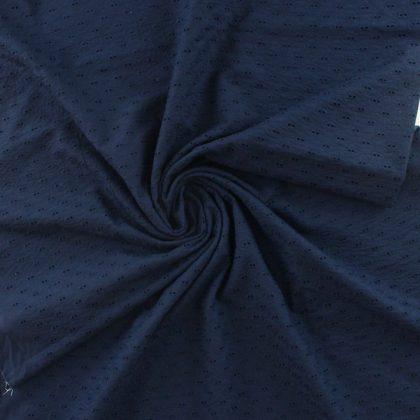 Broderie anglaise pétales - bleu marine
