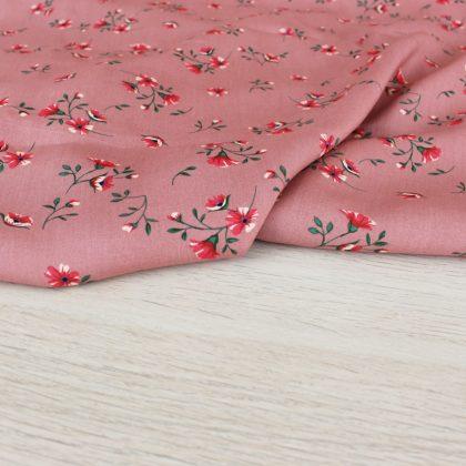 Viscose Nuée de fleurs - vieux rose