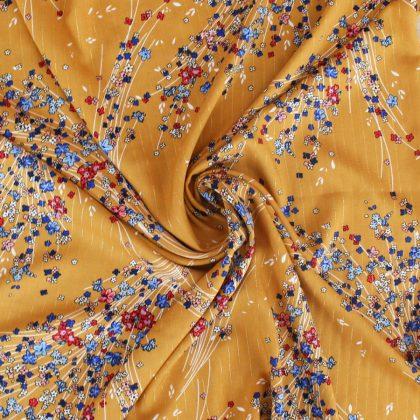 Viscose lurex Envol de fleurs - ocre