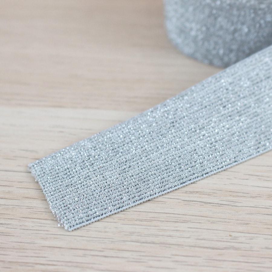 Elastique lurex 40 mm - argent