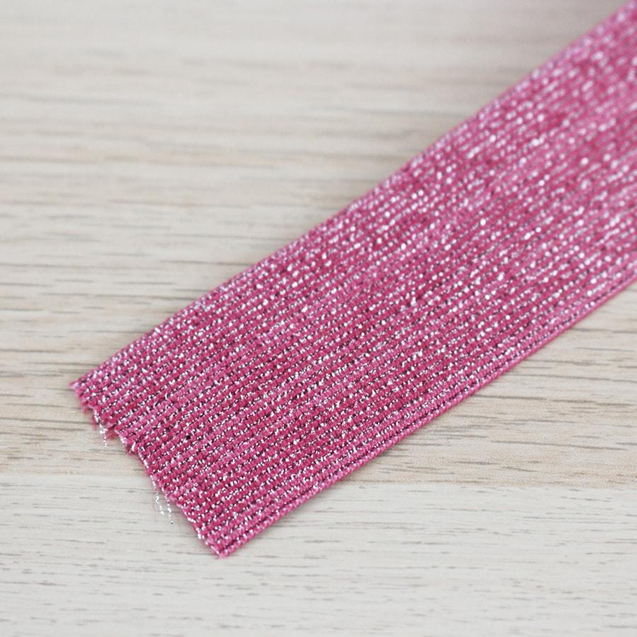 Elastique lurex 40 mm - fuschia
