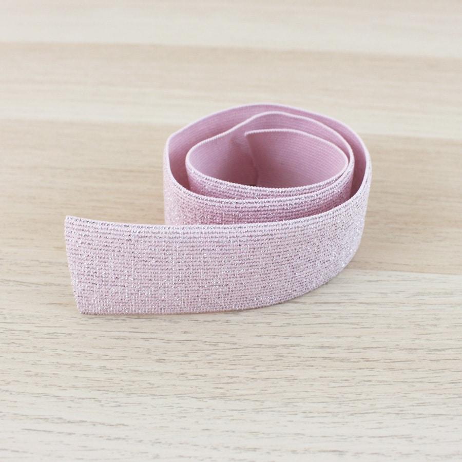 Elastique lurex 40 mm - rose