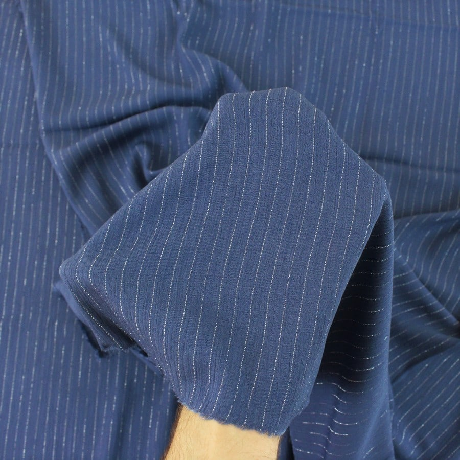 Crépon de viscose lurex - bleu