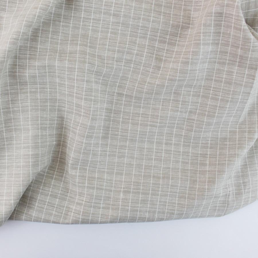 Lin coton carreaux - beige