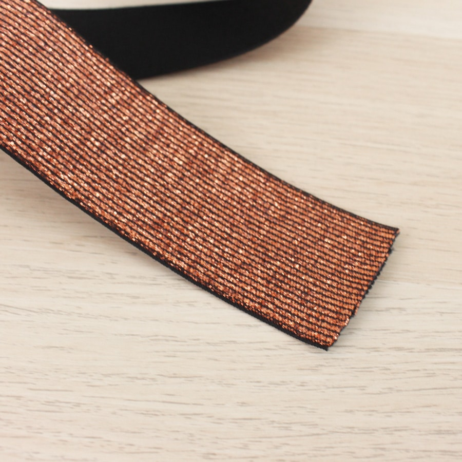 Elastique maille lurex 40 mm - cuivre
