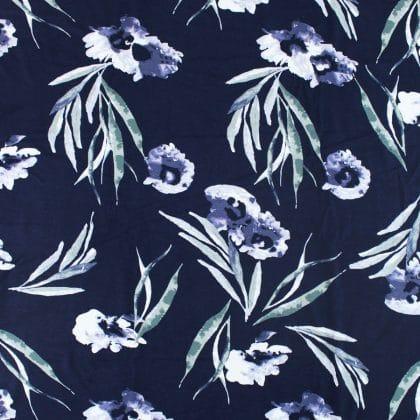 Tissu jersey viscose à Fleurs - bleu