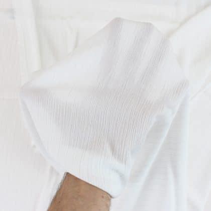 Crêpon de viscose lurex - blanc cassé