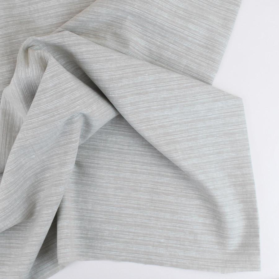 Lin coton à rayures - beige