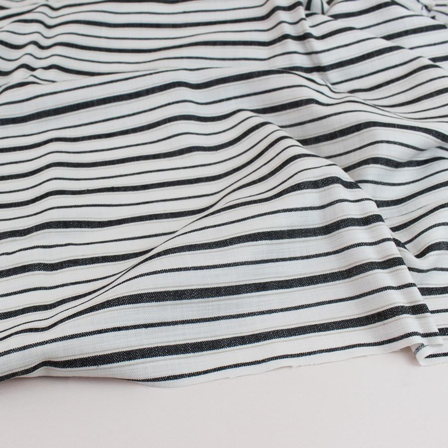 Viscose coton rayures - sable noir