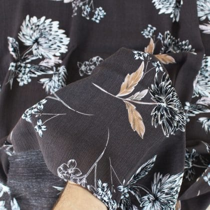 Crépon Fleurs dansantes - marron foncé