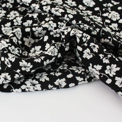 Viscose Fleurs d'amour - noir